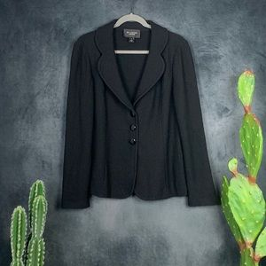 St. John Caviar Knit Black 3 Button Blazer    A412